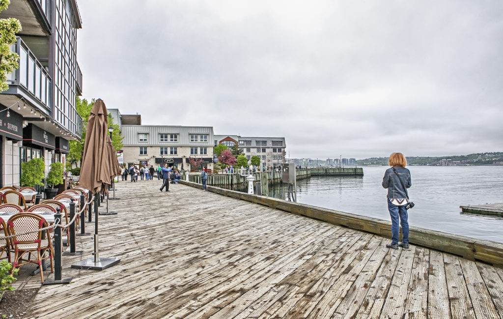 Halifax waterfront boardwalk   Foggy cloudy day