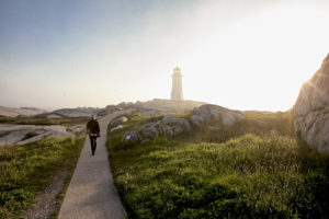 early morning walk up to peggy's cove lighthouse